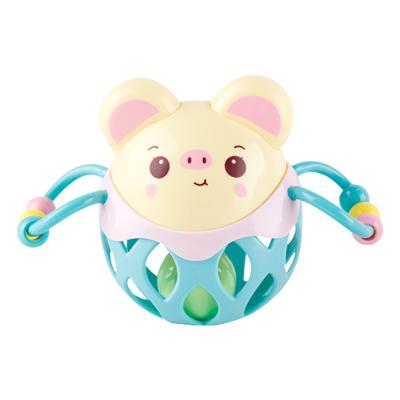 酷伴樂 嬰兒健身球 寶寶動物搖鈴球小豬手抓球 軟膠球搖鈴手抓球玩具 AB款隨機發貨