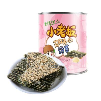 小老板休闲零食小吃芝麻夹心海苔海味即食海苔40g/罐