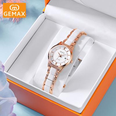 GEMAX/格玛仕专柜同款正品防水石英表陶瓷手表女士学生时尚法国轻奢小众名牌ins风简约女神腕表