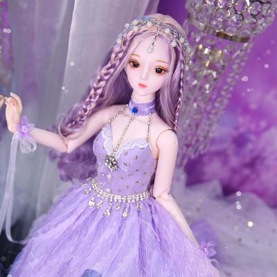 德必勝娃娃DF夢童話芭比娃娃公主套裝大禮盒古裝娃娃改妝換裝仿真洋娃娃兒童男孩女孩玩具生日禮物 紫羽藍辰DF18102