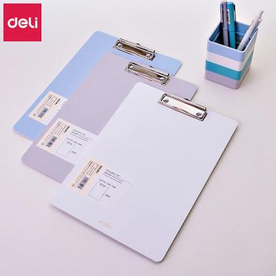 得力(deli)72492板夾樂素系列A4加厚板夾辦公硬質文件夾會議夾報告夾 淺藍