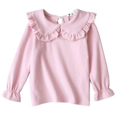 問荷 2020春秋新款女童打底衫 兒童百搭T恤翻領花邊洋氣白色娃娃領上衣