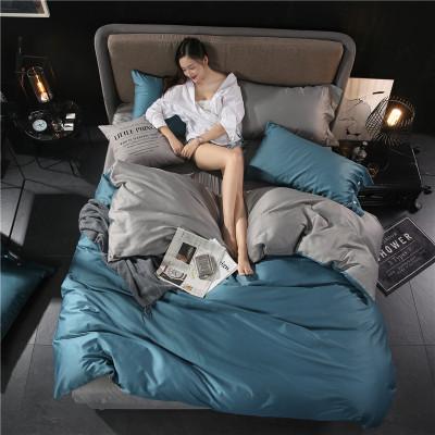 婉寇 60支贡缎长绒棉四件套全棉纯棉简约床单被套北欧风床上用品