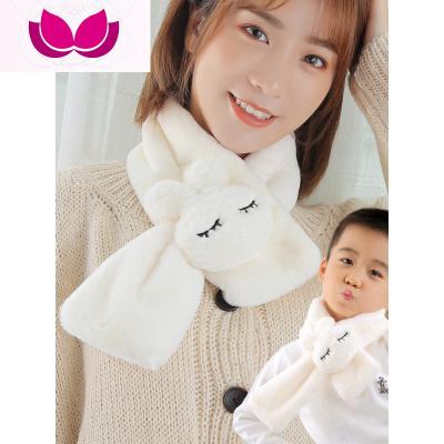 仿皮獺兔毛圍巾女親子新款交叉冬季保暖圍脖學生韓版加厚百搭潮