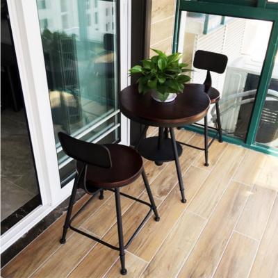 京好 現代鐵藝陽臺戶外桌椅組合 現代簡約環保復古奶休閑小圓桌茶店咖啡桌椅套件D69