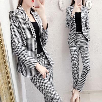 愫惠君2020春裝新款職業西裝套裝女韓版時尚氣質格子西服兩件套8976
