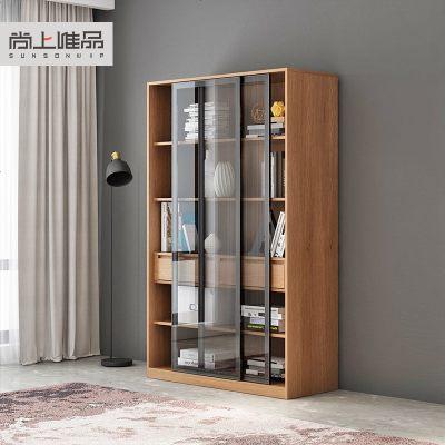 杞沐北歐風實木推拉書柜書櫥帶玻璃防塵書架多功能置儲物收納柜子
