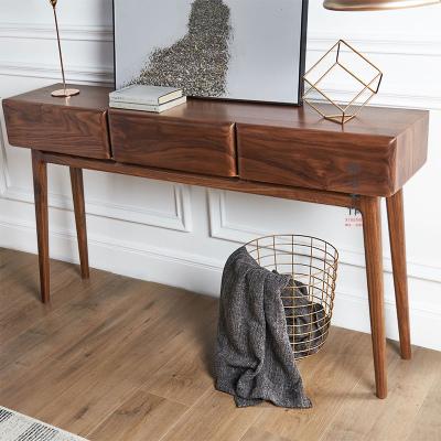 顧致黑胡桃儲物柜玄關柜茶邊柜供柜簡約現代實木廳柜條案桌子定制
