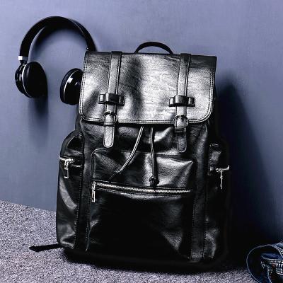 佰利老人(BaiLiLaoRen)新款雙肩背包男士運動休閑包旅行包學生書包背包男女通用雙肩背式書包男包PU黑色7211