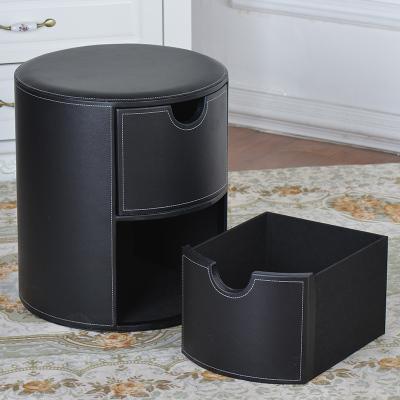 創意簡約皮質抽屜式收納儲物凳 圓形皮革床頭柜/床邊柜 換鞋坐凳