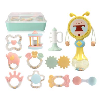 【高温水煮】贝恩施 婴儿玩具摇铃牙胶玩具手摇铃套装新生儿玩具宝宝手抓球 益智摇铃+趣味拨浪鼓【收纳10件套】