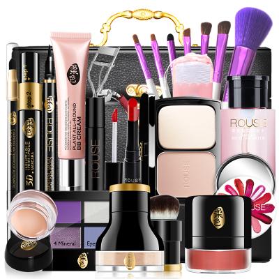 ILIYSA柔色化妝品套裝彩妝全套初學者組合淡妝套裝女學生自然正品 黑色化妝箱+嫵媚動人妝