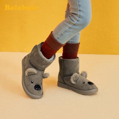 巴拉巴拉女童短靴儿童雪地靴男童2019冬季新款加绒加厚靴子小童鞋