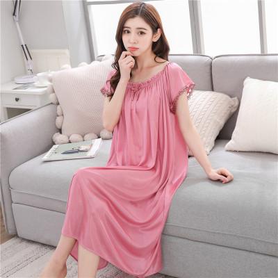 俏果兒(Qiaoguoer)女士睡裙夏季冰絲睡衣家居服加大碼加肥碼長裙胖妹妹性感睡裙