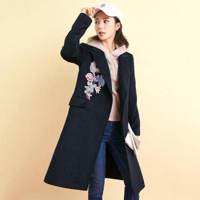 拉夏貝爾7M莫麗菲爾新款韓版繡花寬松A擺毛呢外套中長保暖大衣女70009499
