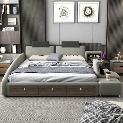 航竹坊 榻榻米床主卧现代简约布艺床可拆洗双人床1.8米多功能床婚床