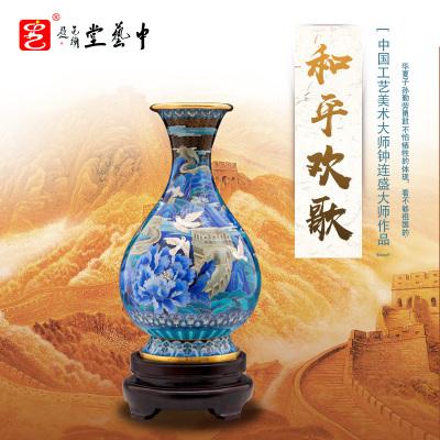 中藝盛嘉鐘連盛陶瓷藝術品家居擺件送領導新中式和平歡歌中藝堂收藏品