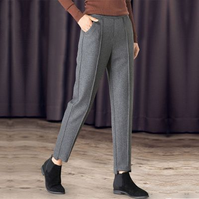 毛呢哈伦裤子女士呢子九分裤2019新款宽松高腰显瘦小脚西裤