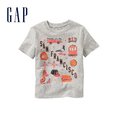 Gap男嬰幼童 基本款柔軟印花T恤 純棉兒童上衣254758 E