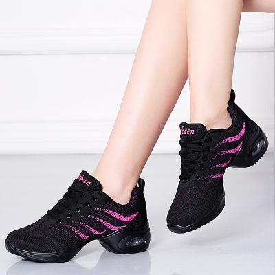 刺桐先生春秋季舞蹈鞋廣場舞鞋女跳舞鞋女健身大碼厚底舞蹈鞋女低跟(1-3cm)網面軟底運動健身鞋女