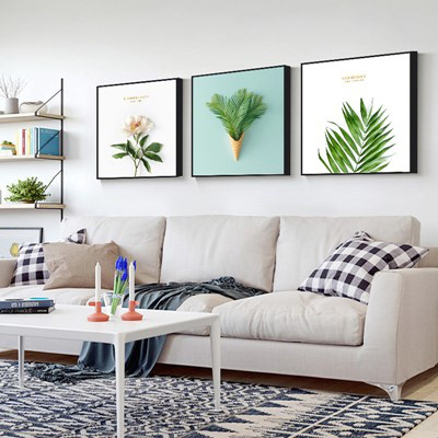 北歐客廳裝飾畫沙發背景墻壁畫古達現代簡約三聯畫臥室 姜黃色 40*40【適合2米左右墻面】12mm中板+防水布紋膜+性價