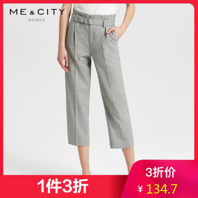 【1件3折價:134.7】MECITY女裝新款時尚商務中花灰常規西褲