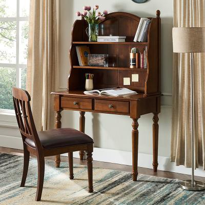 花千紫美式實木書桌書架組合簡約現代電腦桌歐式書柜一體輕奢寫字臺