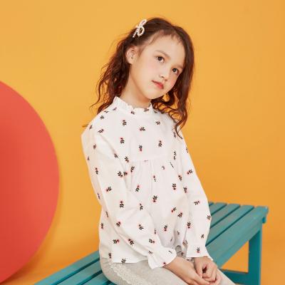 【1件3折价:48】moomoo童装女童衬衫长袖新款秋装休闲纯棉中大儿童梭织上衣