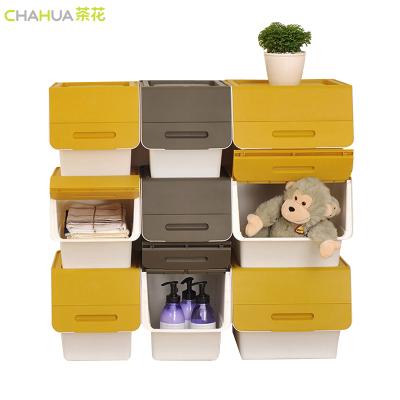 茶花34L大号塑料斜翻盖收纳箱整理箱可层叠储物箱2885三支装