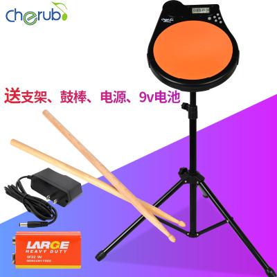 Cherub 小天使啞鼓墊 架子鼓練習鼓節拍器測速鼓機節奏教練送鼓棒 橙色送支架、鼓棒、電源、9v電池 10英寸