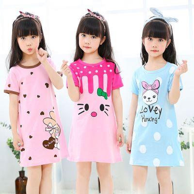 2020女童睡裙兒童睡衣夏季短袖女孩寶寶親子空調家居服中大童薄款