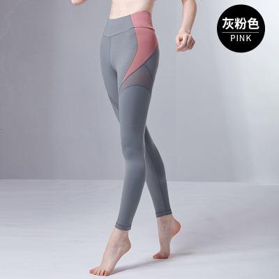 青鸟新款瑜伽服女弹力紧身裤子网纱拼接时尚速干运动健身长裤