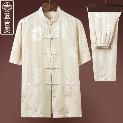 中老年人唐裝男短袖真絲桑蠶絲套裝爸爸爺爺衣服裝中國風夏裝上衣