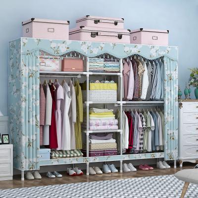 罗森朗 简易衣柜布衣柜简约现代经济型钢管加粗加固组装双人钢架布艺衣橱