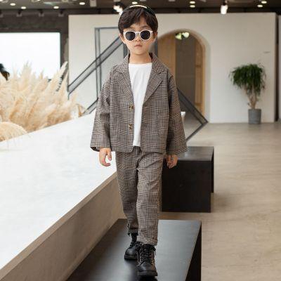 MinanSer 男童秋裝西裝套裝2020韓版洋氣兒童裝春秋款男孩帥氣英倫風小西服秋季新款