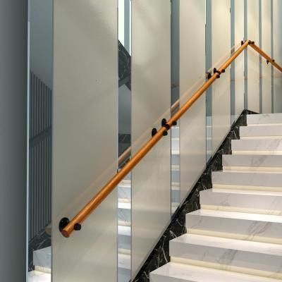 歐式靠墻樓梯扶手實木別墅閣樓室內老人防滑拉手家用通道走廊扶手 30cm2個固定點