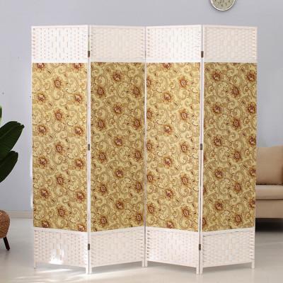 京好 素雅卡通折叠屏风 简约实木纯手工编织办公室隔断墙美容院遮挡 卧室围栏A160
