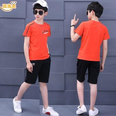 中大童男童夏装新款男孩12儿童13七分中裤15岁运动服短袖套装
