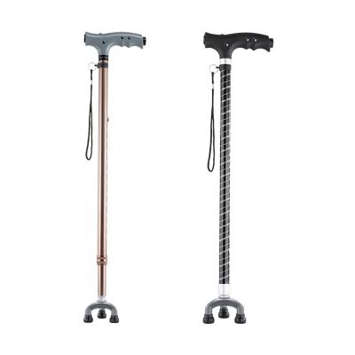 可孚 铝合金拐杖 老人 四脚拐棍 老年三角拐杖小三脚手杖伸缩带灯 炫彩黑