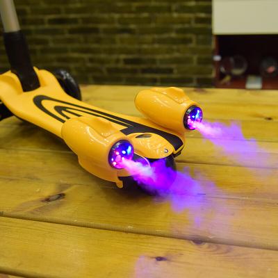 兒童滑板車3輪閃光溜溜車折疊大號劃板車男女童噴霧踏板車發光水晶輪快樂達5080