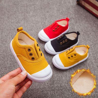 HKCP兒童帆布鞋二棉加絨男童一腳蹬懶人布鞋女童幼兒園小白童鞋寶寶鞋
