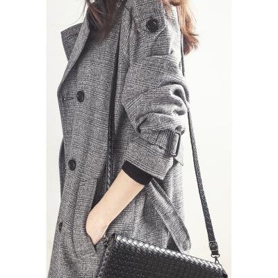芊芷洛風衣女裝chic格子2020春秋季韓版中長款修身時尚lulu外套