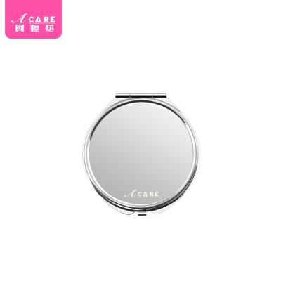 Acare随身小圆镜便携镜化妆镜不锈钢折叠镜可爱双面镜子韩国
