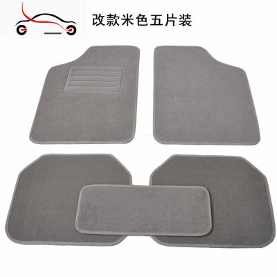 汽車腳墊絨面防滑腳墊大包圍保護墊地毯墊SUV腳墊通用腳墊加大敬平 改款米色(五片裝)