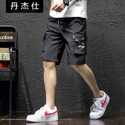 丹杰仕 大碼日系男士夏季多口袋工裝短褲男立體袋刺繡沙灘休閑褲