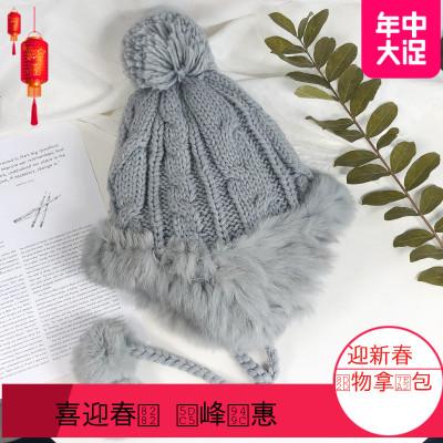 2019雷锋帽女帽子冬季韩版甜美可爱兔毛护耳加厚防风保暖冬挂球毛线帽