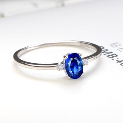 SHE CENTURY 4*6天然藍寶石金18K白戒圈鑲鉆石戒指彩寶戒指 請備注圈號 附證書 節日禮物送老婆