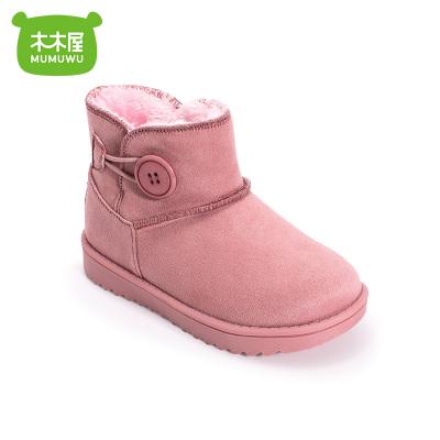 木木屋雪地靴2019冬新款加绒儿童棉靴中大童男童女童短靴