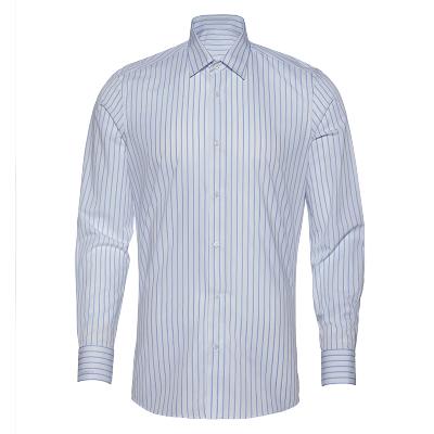 碼尚定制MatchU竹纖維襯衣2020春季新款 購買后會發送量體鏈接 商務正裝條紋襯衫男可定制袖長 白底藍條