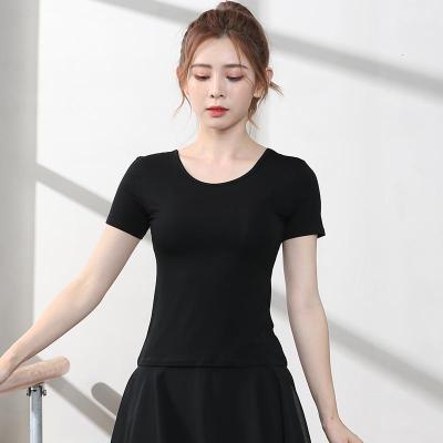 舞蹈上衣拉丁舞成人练功服女练习现代舞服短袖秋莫代尔黑色七分袖